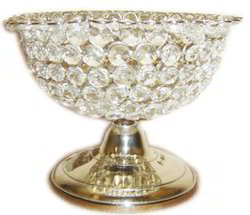 Home Arts Silver Crystal Bowl With Solid Base, Size: 8 Inch
