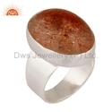 Natural Sunstone 925 Silver Ring