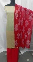 Plain Chanderi Suit with Printed Red Dupatta