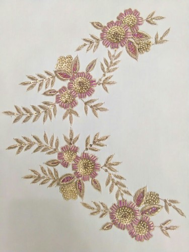 Crip Fabric Hand Embroidery Neck Embroidery Design Dapka Work