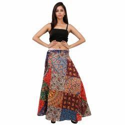 Patchwork Cotton Wrap Skirt