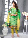 Party wear A-Line Chanderi Cotton Embroidery Semi Stitched Salwar Suit