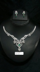 925 Sterling Silver CZ  Necklace Set