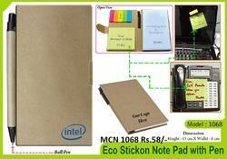 TCN 1068 Eco Stick on Note Pad with Ball Pen