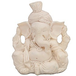 Little India White Ganesha Safa In Resin Statue