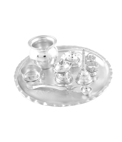 Gifts Vale German Silver Puja Thali 10 Inch