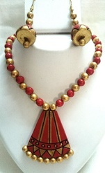 Terracotta Party Wear Necklace Set
