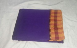 Party Wear Temple Border Poly Cotton Sarees, Hand, 6.3 m (with blouse piece)
