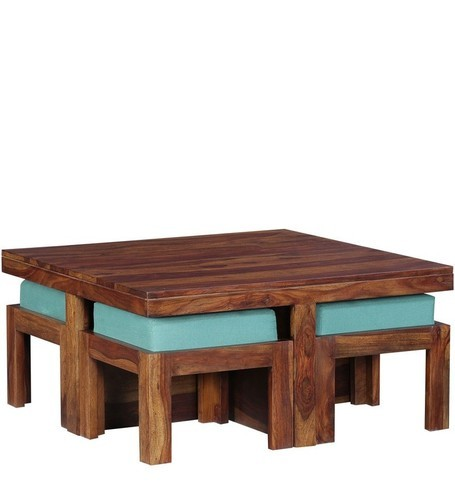 Sheesham Wood Square Coffee Table For Living Room . Wooden Center Table .with  4 Stools