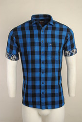 Blue Checked Urban Design Casual Shirts