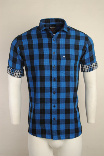 769134547 Cotton Full Sleeve Checked Urban Design Casual Shirts, Size: M, L & LX