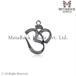 Om Shape Diamond Charm Pendant