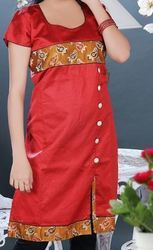 Reddish Cotton Silk Party Wear Kurti