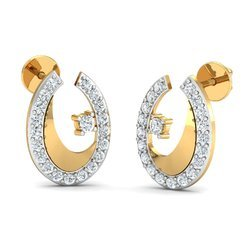 Woman Hallmark Gold Diamond Earring