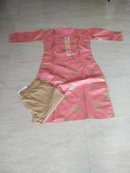 Silk Cotton Party Wear Pink Silk Cotton Kurti With Leggings