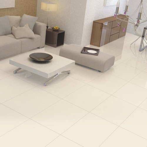 Plain Ivory Beige Color Porcelain Polished Tiles