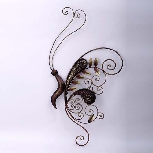 Decorative Floral Designed Iron Butterfly Wall Hanging