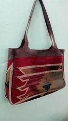 Handled Printed Kilim Wool Bag