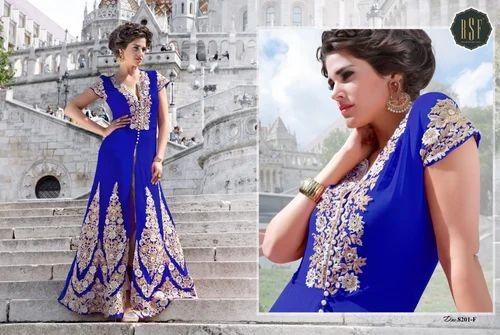 Georgette With Net Koti Designer Floor Length Salwar Suit Mandipa