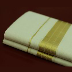 Cotton Mens Golden Border Dhoti