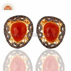 Pave Diamond Carnelian Gemstone Earrings