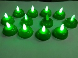 Plain 6 Green LED Diya Set DD203G