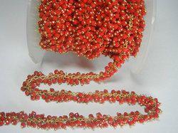 Coral Hydro Quartz Wire Wrapped Cluster Chain
