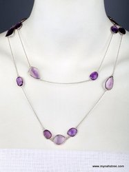 Amethysts And Silver Chain