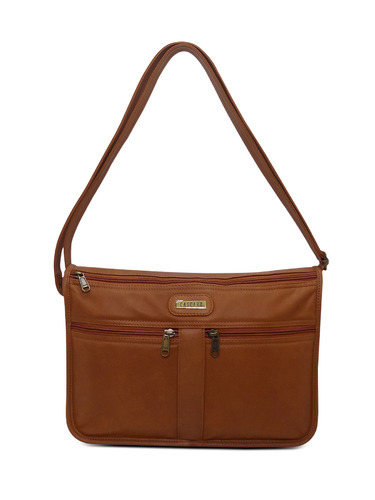 Leather Tan Sling Bag, Sling Handbags - Cascara Garments, Chennai ...