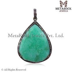 Chrysoprase Gemstone Diamond Pendant