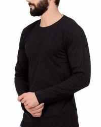 Black Plain Full Lycra T Shirt