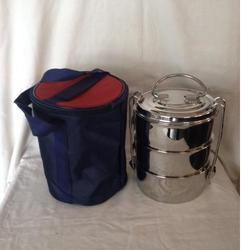 praylady Lunch Box Type Stainless Steel Hot Tiffin 3 Tire, 3 SS containers