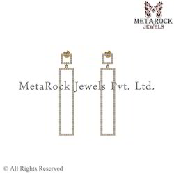 Designer 14k Yellow Gold  Fashion Diamond Bar Earring