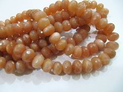 Moonstone Beads Peach Color Rondelle Faceted