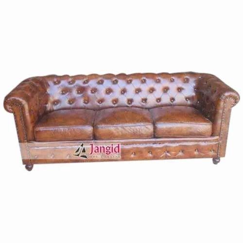 Vintage Industrial Leather Sofa