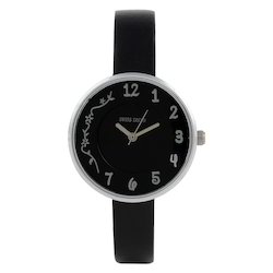 Swiss Trend Black Dial Genuine Leather Ladies Wrist Watch. S
