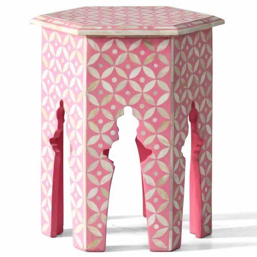 Bone Inlay Hexagonal Table Pink