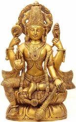 Lord Vishnu Chathurbhujam In Kamalasanam Wooden Statue