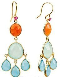 Gold Vermeil Tribal Mixed Gemstone Drop Earring