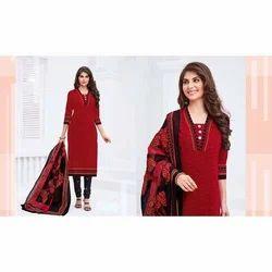 Party wear Red Ladies Cotton Suit