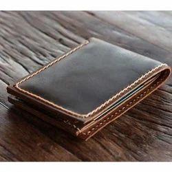 Black Bi Fold Men's Leather Wallet, Card Slots: 9