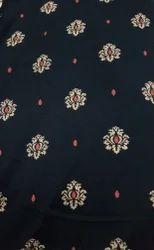 Printed Blue Cotton Kurti Fabric