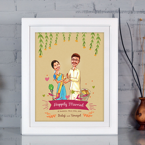 Illustrated Wedding Invitation Design And Art Print Gift In