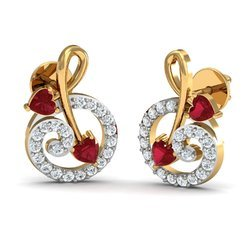 Heart Shape 14K Gold Diamond Earring