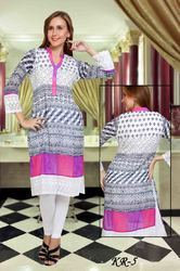 White Chikan Work Embroidered Kurti