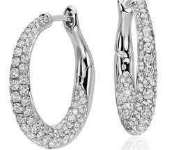 Diamond Hoop Earring in 14Kt Solid White Gold