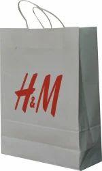 Handled White Paper Bag, For Shopping, Capacity: 2kg