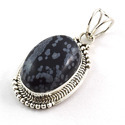 Snowflake Obsidian Sterling Silver Pendant