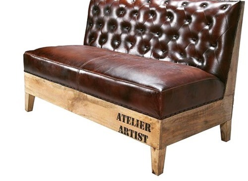 Leather and Canvas Fabric Two Seater Trends Upholstery Sofa