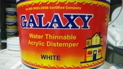 Mid Sheen Shell White Galaxy Water Thinnable Acrylic distemper, for Wall, Packaging Type: Bucket